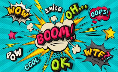 Bąbelkowa chmura pop-artu. Smile, wow, pow, cool, ok, ups, wtf funny bubble speech. Modne kolorowe retro tło w retro komiks stylu pop-art. Ilustracja łatwo edytowalna dla twojego projektu.