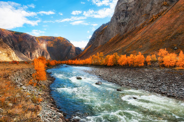 Chulyshman river valley, Altai mountains, Siberia, Russia. Autumn landscape at sunset