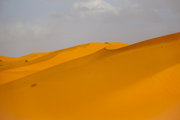 Sand dunes and dramatic clouds in the Sahara Desert in MOrocco