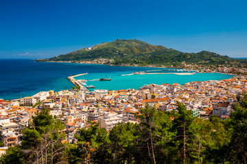 Summer view of Zakynthos Zante town. Beautiful cityscape panorama of Greece city