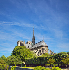 Undamaged Eastern facade of Notre Dame de Paris in Springtime before the fire