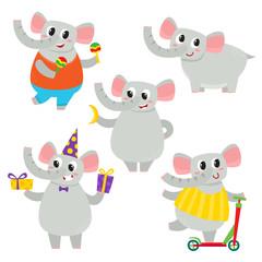 Vector set of cartoon funny elephant isolated on white background.