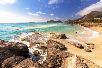 Amazing scenery of the Falassarna beach on Crete, Greece