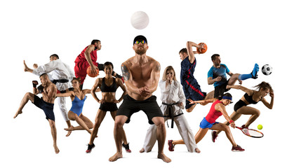 Multi sports collage volley ball beach, mma fighter, basketball, taekwondo, karate, tennis, etc. Isolated