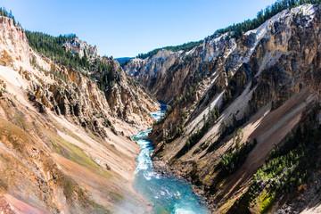 Rzeka Yellowstone z niższych wodospadów