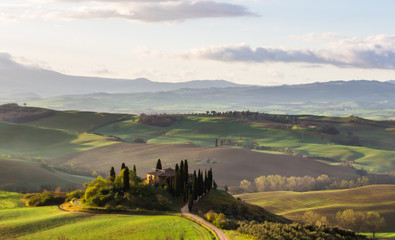 hills and green fields of Val d'Orcia in Tuscany