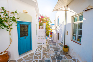 Street of Greek village with white houses