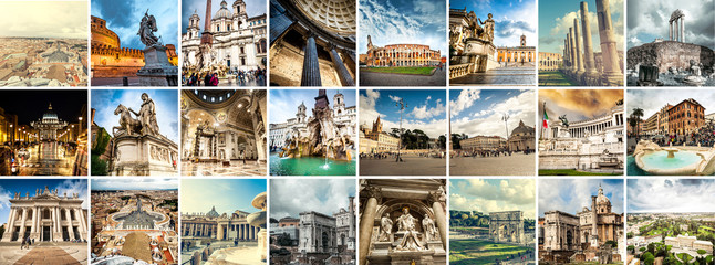 Collage of sights of Rome, Italy