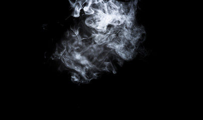 Dry ice smoke Floating in the air, black background