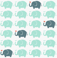 seamless elephant animal silhouette cartoon background- Vector