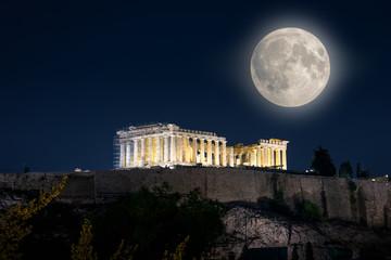 Parthenon temple on Acropolis at night, Athens, Greece