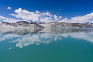 Landscape view high land lake and reflection with clear blue sky, Xinjiang