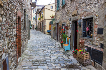 streets and buildings in Montefioralle old village in Tuscany
