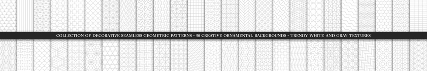 Collection of seamless ornamental vector patterns and swatches. White and grey geometric oriental backgrounds.