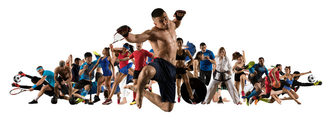 Sport collage. Tennis, soccer, taekwondo, bodybuilding, MMA fighter and basketball players