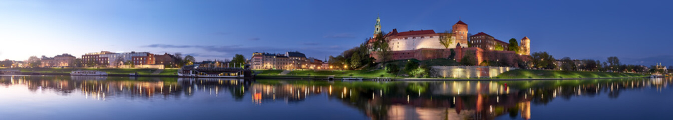 Poland, Krakow, Wawel hill at night, panoramic view