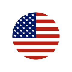 Circle button Icon of national flag of The United States of America with red and blue colors. Vector EPS10 illustration.