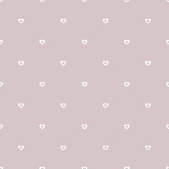 Subtle hearts vector pattern. Valentines day background in soft pastel colors