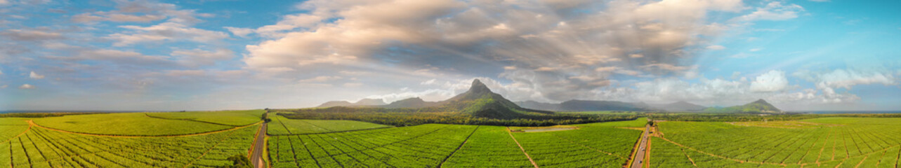 Panoramic sunset view of Mt Rempart and surrounding meadows, Mauritius