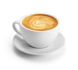 Filiżanki kawy latte odizolowywający na białym tle z ścinek ścieżką