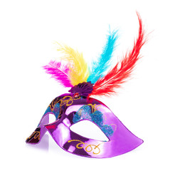 carnival mask with feathers isolated on a white background