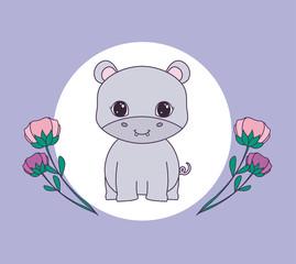cute hippopotamus in frame circular with flowers