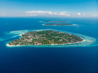 Aerial view with Gili islands and ocean, drone shot.