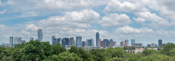 Cityscape View of Downtown Austin With Cloudy Skies