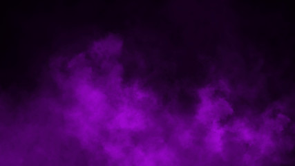 Purple fog and mist effect on black background. Smoke texture . Design element