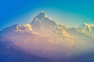 The Annapurna massif in the morning time with sunrise, seen from Methlang Hill, Pokhara, Nepal.