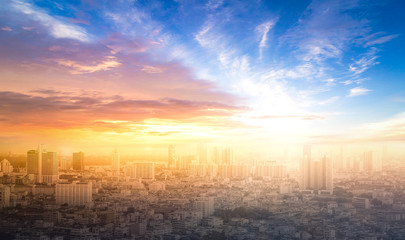 World environment day concept: Colourful city and sky sunset background. Bangkok, Asia, Thailand
