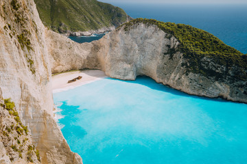 Panoramic photo of Wreck ship beach Navagio. Zakynthos Island, Greece