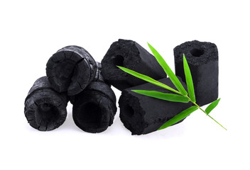Bamboo charcoal isolated on white background