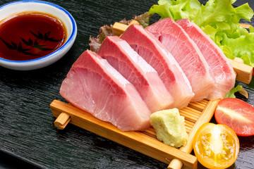 Fresh Hamaji Raw Sashimi with soy sauce