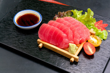 Fresh Tuna Raw Sashimi with soy sauce
