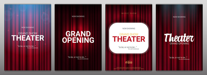 Theater stage. Red curtains stage, theater or opera background with spotlight. Festival night show banner.