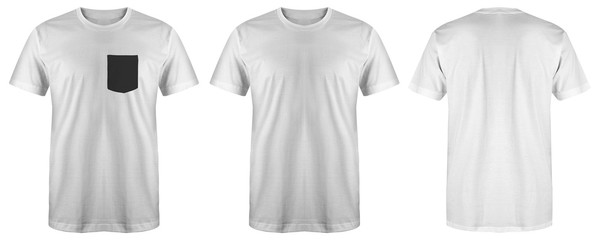 Blank t shirt set bundle pack. white t shirt isolated on white background with three different style, suitable for mock up or presentation your project.
