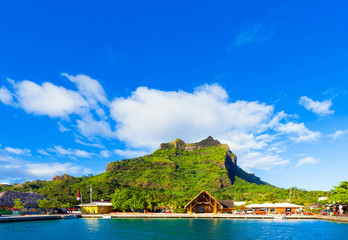 BORA BORA, FRENCH POLYNESIA - SEPTEMBER 19, 2018: View of the mountain landscape and the port. Copy space for text.