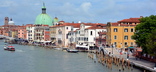 The Grand canal in Venice is a city in northeast Italy sited on a group of 118 small islands. More than 20 million tourists come to Venice annually.