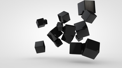3D rendering of many black cubes of different sizes, randomly arranged in space on a white background. Abstract, futuristic composition of ideal geometric shapes.