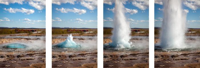 Sekwencja 4 zdjęć erupcji gejzeru na Islandii w słoneczny dzień