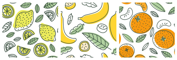 Lemon, banana and orange. Fruit seamless pattern set. Fashion design. Food print for clothes, linens or curtain. Hand drawn vector sketch. Exotic background collection