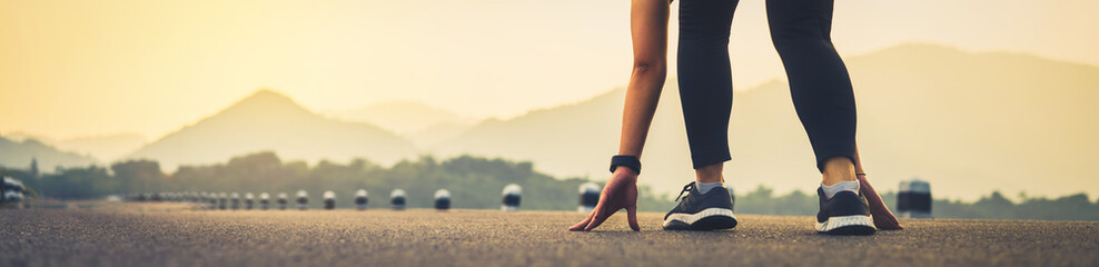 close up of woman leg in running start to reach the goal. Jogging workout and sport healthy lifestyle concept. proportion of the banner for ads.