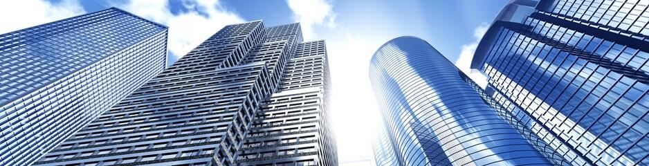 Beautiful skyscrapers against the sky, panorama of modern high-rise buildings, 3d rendering