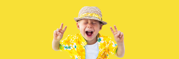 Child in yellow hawaiian shirt and straw hat shouts
