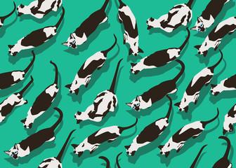 Siamese Cat Seamless Pattern Dense Green Wallpaper