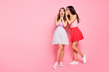 Full length body size view of nice-looking attractive charming lovely winsome adorable cheerful cheery girls sharing news isolated over pink pastel background