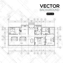 Detailed architectural plan , Architectural background , architectural plan vector