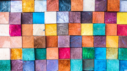 Wood texture block stack on the wall for background, Abstract colorful wood texture.