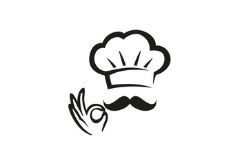Creative Chef Hand Sign Logo Design Vector Symbol Illustration